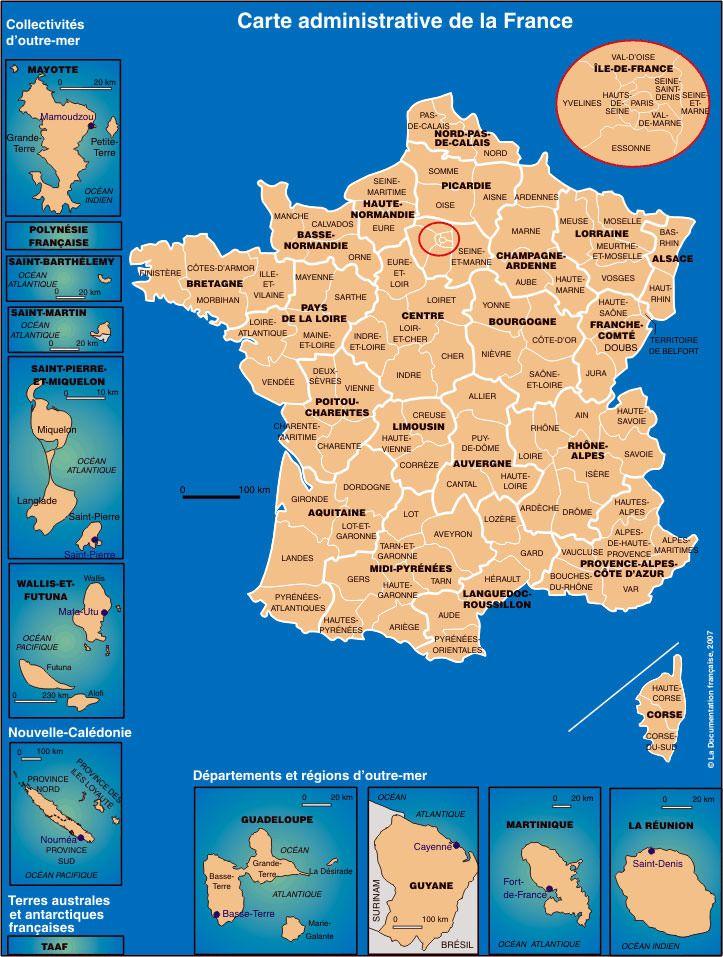 FrancecarteadministrativedelaFrancenouvellecartedes