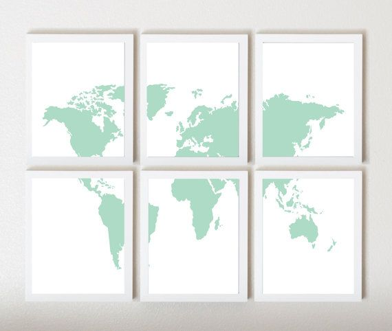 Mint white world map in 6 pieces by thirdfloordesign on etsy mint white world map in 6 pieces by thirdfloordesign on etsy 4500 gumiabroncs Image collections