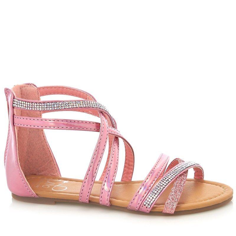 19999594e85b31 Olivia Miller Girls Metallic Pink Strappy Sandals Olivia Miller