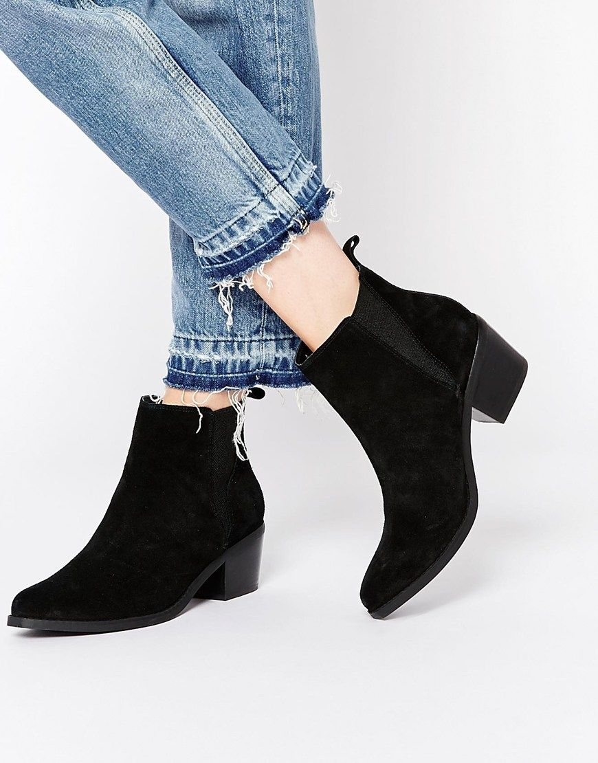 644bf49a1f92 ASOS RISKED IT Pointed Suede Western Chelsea Boots