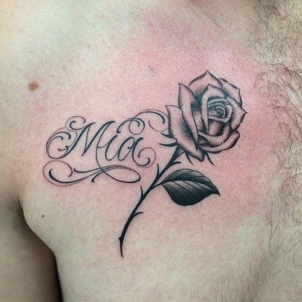 Want A Name Tattoo 80 Of The Best Designs For Men And Women Name Tattoos Chest Tattoo Men Rose Tattoo With Name