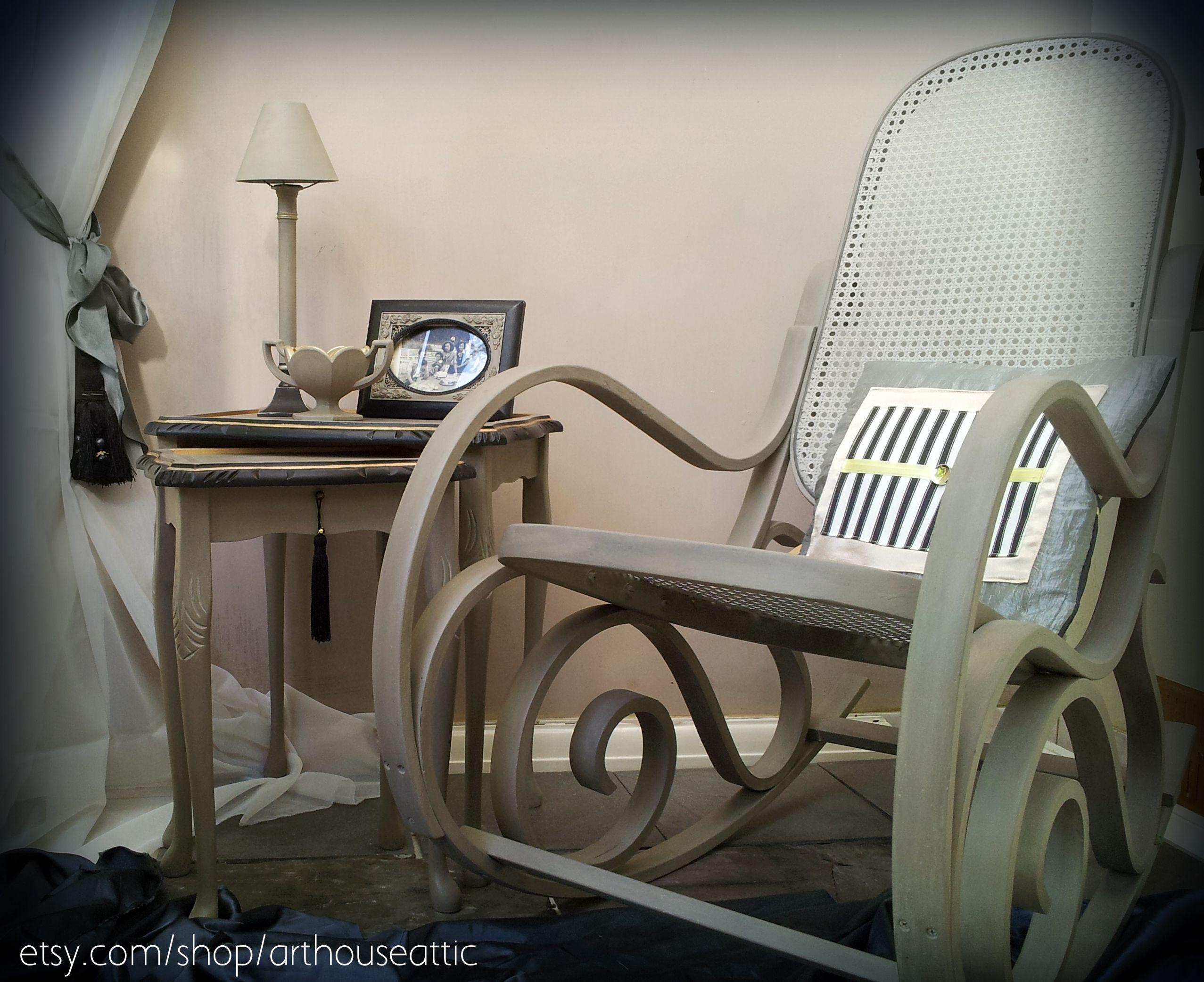 Vintage rattan rocking chair - Vintage Rattan Rocking Chair Nest Of Side Tables Vintage Rockingchair Handpainted