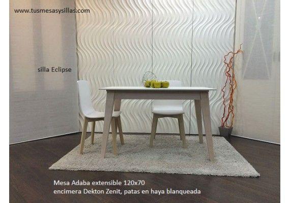 Oferta mesa cocina o comedor de diseño con dekton blanco, zenith ...