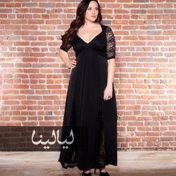 فساتين سهرة باللون الأسود للجسم الممتلئ موقع ليالينا Plus Size Maxi Dresses Black Lace Maxi Dress Chiffon Dress Long