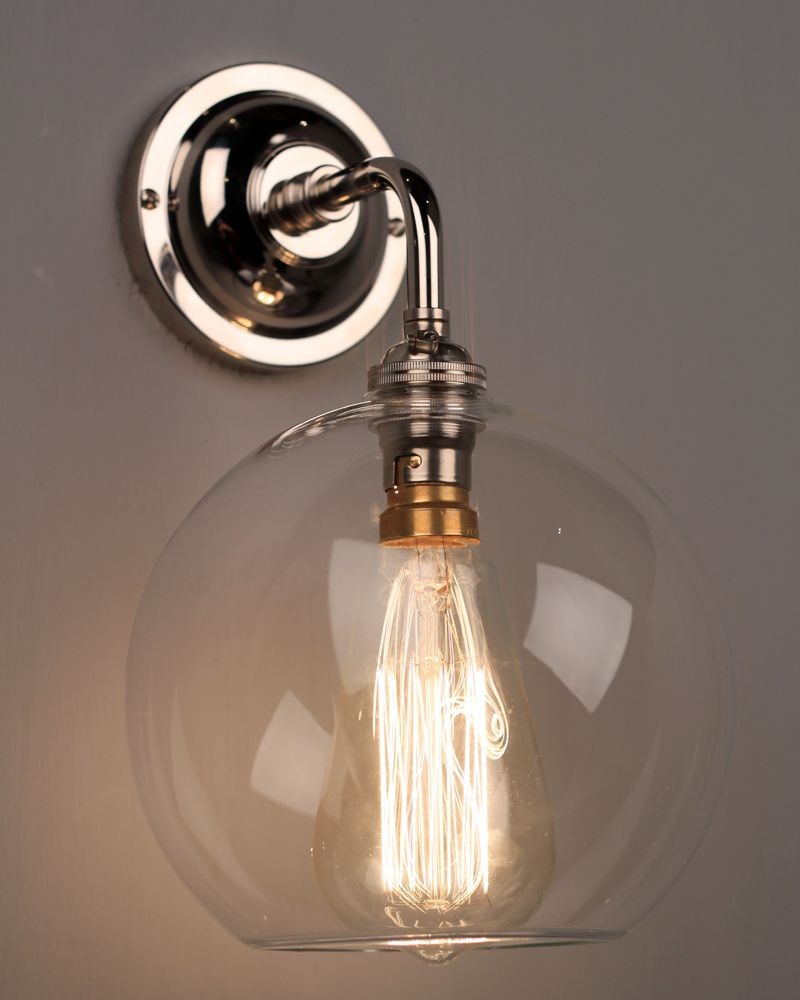globe light wall light with clear hereford glass globe shade