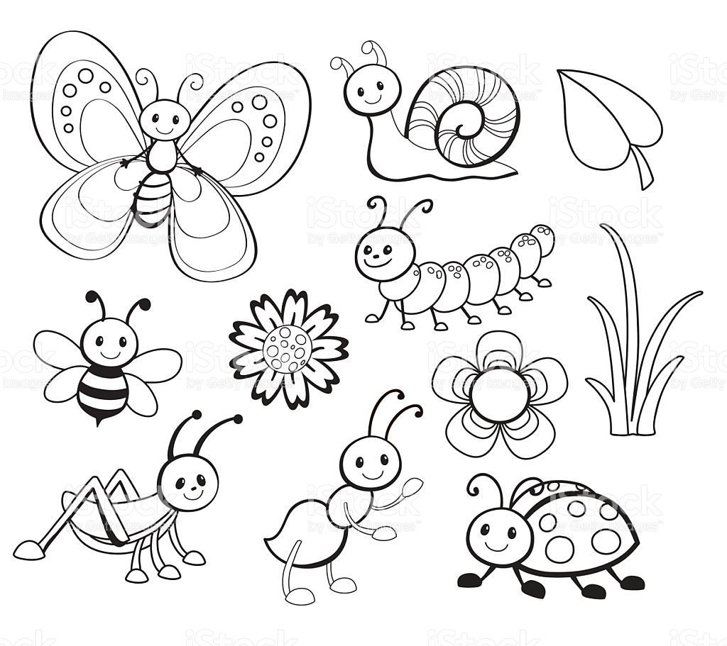 Vector Set of Cute Cartoon Bug Line Art, Coloring. | Dibujos rapidos ...