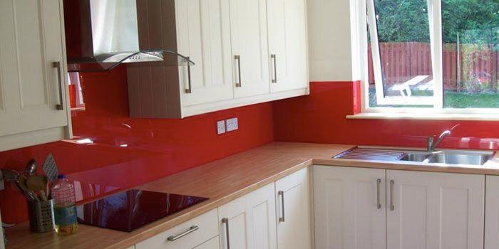 Red acrylic splashback kitchen ideas pinterest for Cheap kitchen benchtop ideas