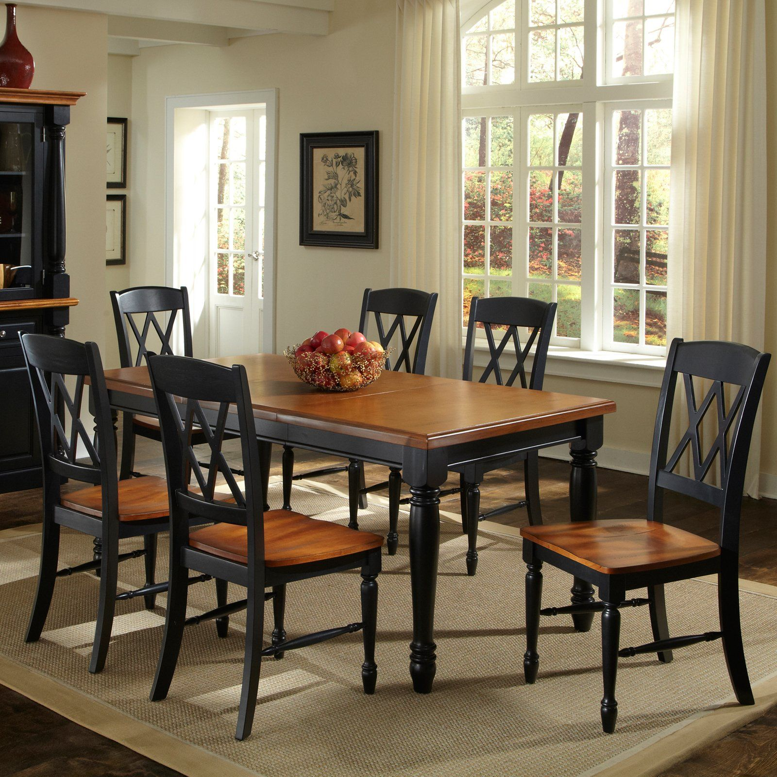 Attractive Home Styles Monarch 7 Piece Dining Table With 6 Double X Back Chairs    Black U0026 Oak $1149.99