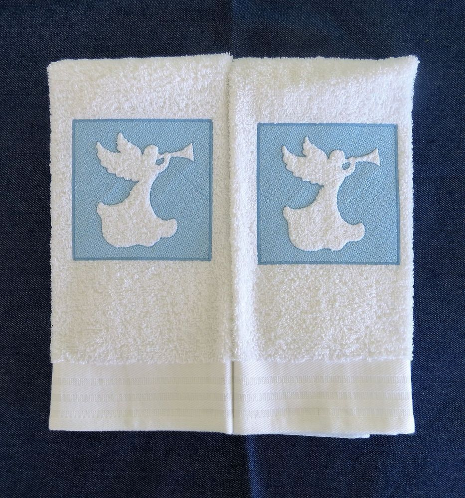 Details about Angel #2 - Embroidered Kitchen/Hand Towel - Set of 2 ...