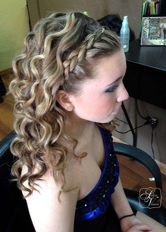 "French braid ""headband"",medium curls 