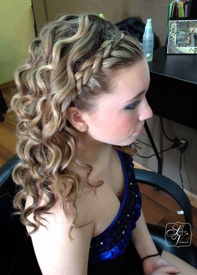 French Braid Headband Medium Curls Braided Prom Hair