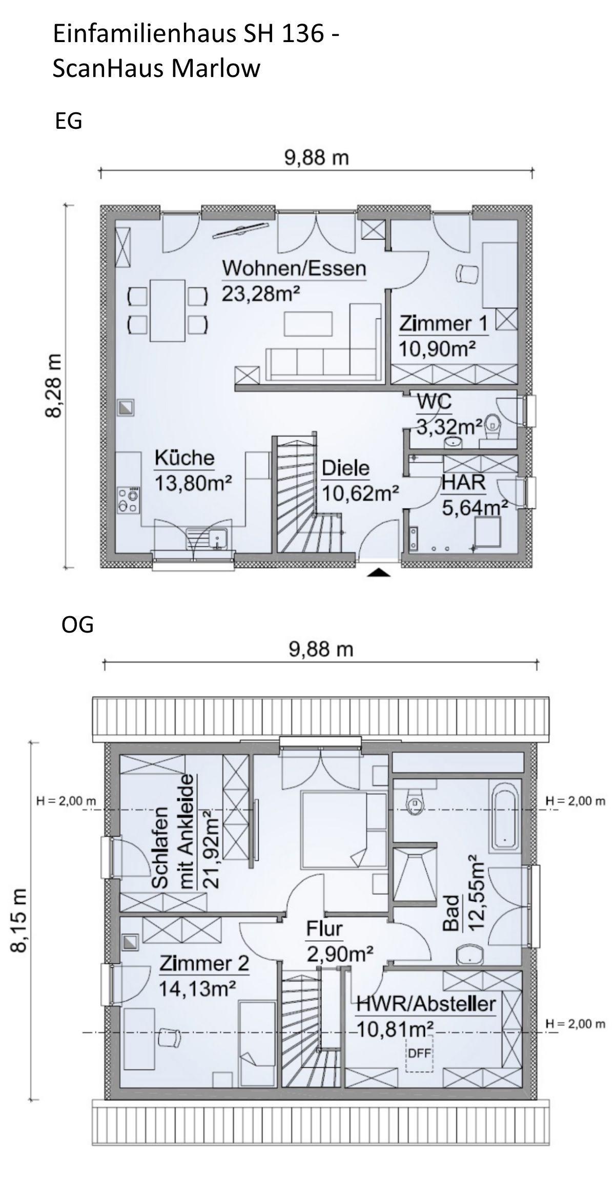 Einfamilienhaus Grundriss 130 qm mit Krüppelwalmdach