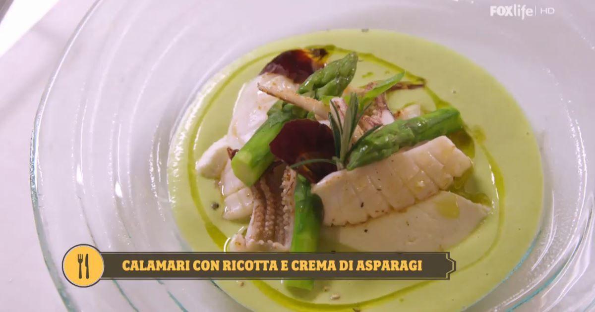 Assez Leggi la ricetta dei calamari con crema di asparagi e ricotta di  JN18