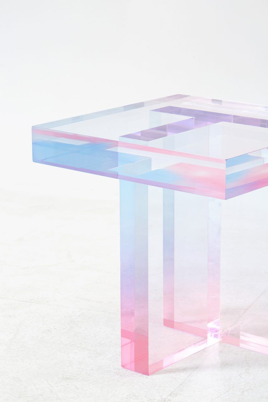 Acrylic side table so modern this pink and blue acrylic table www bocadolobo com luxuryfurniture designfurniture