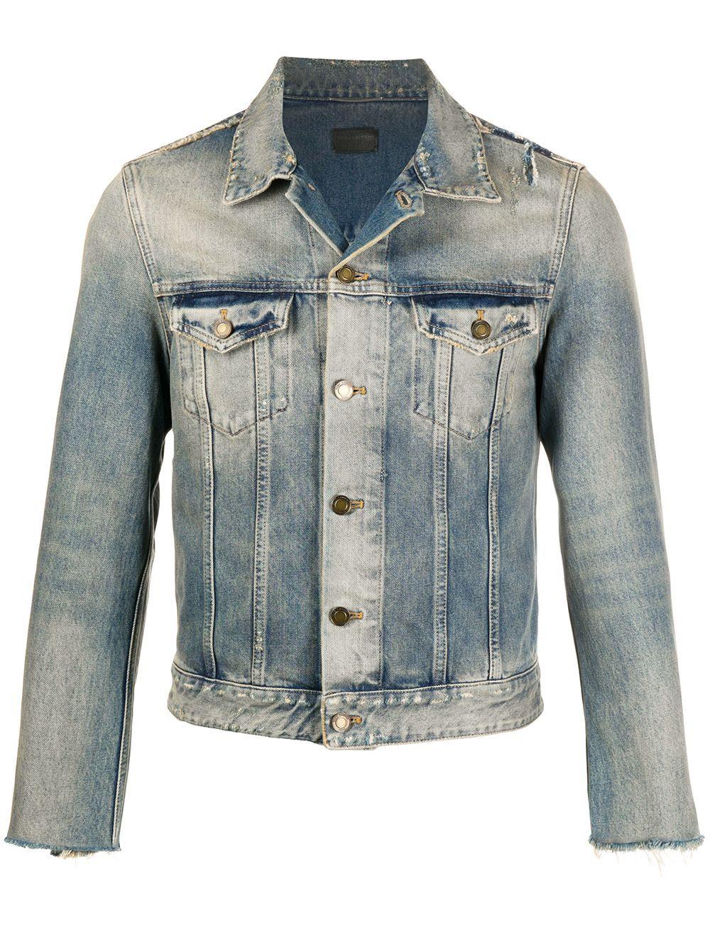 Saint Laurent Stonewashed Effect Denim Jacket Blue In 2021 Denim Jacket Saint Laurent Menswear Denim Jacket Men [ 1334 x 1000 Pixel ]