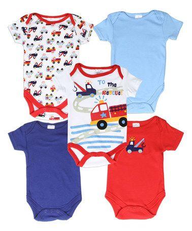 Look at this #zulilyfind! Blue & Red Rescue Bodysuit Set #zulilyfinds