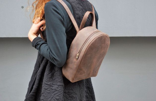 Plecak mały z naturalnej brązowej skóry - Made-4-Friends - Plecaki
