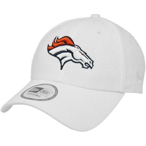 NFL New Era Denver Broncos 9FORTY NFL Adjustable Hat - White by New Era. $19.95. Adjustable hook and loop fastener strap. One size fits most. Quality embroidery. Structured. Six panels with eyelets. New Era Denver Broncos 9FORTY NFL Adjustable Hat - WhiteSix panels with eyeletsAdjustable hook and loop fastener strapOfficially licensed NFL productImported100% PolyesterStructuredOne size fits mostQuality embroidery100% PolyesterQuality embroideryStructuredAdjustable ho...