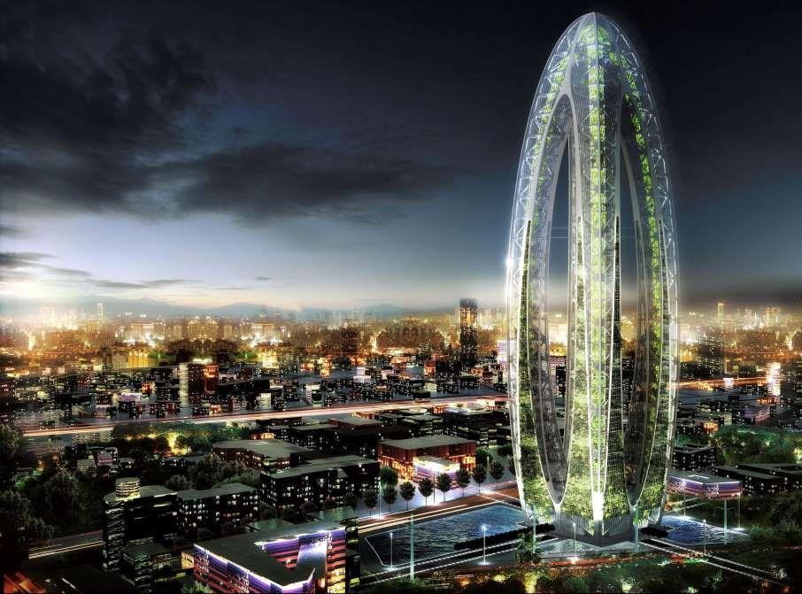 'Bionic Arch' futuristic skyscraper, Taiwan, China - Apr 2012 - Vincent Callebaut/Solent News/REX