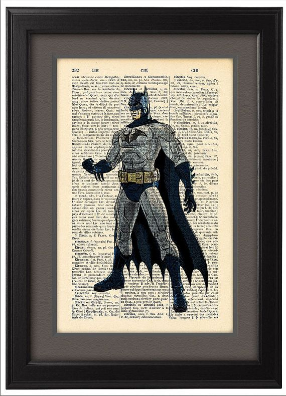 Batman Comic Dictionary Print Book Pages Home Office By