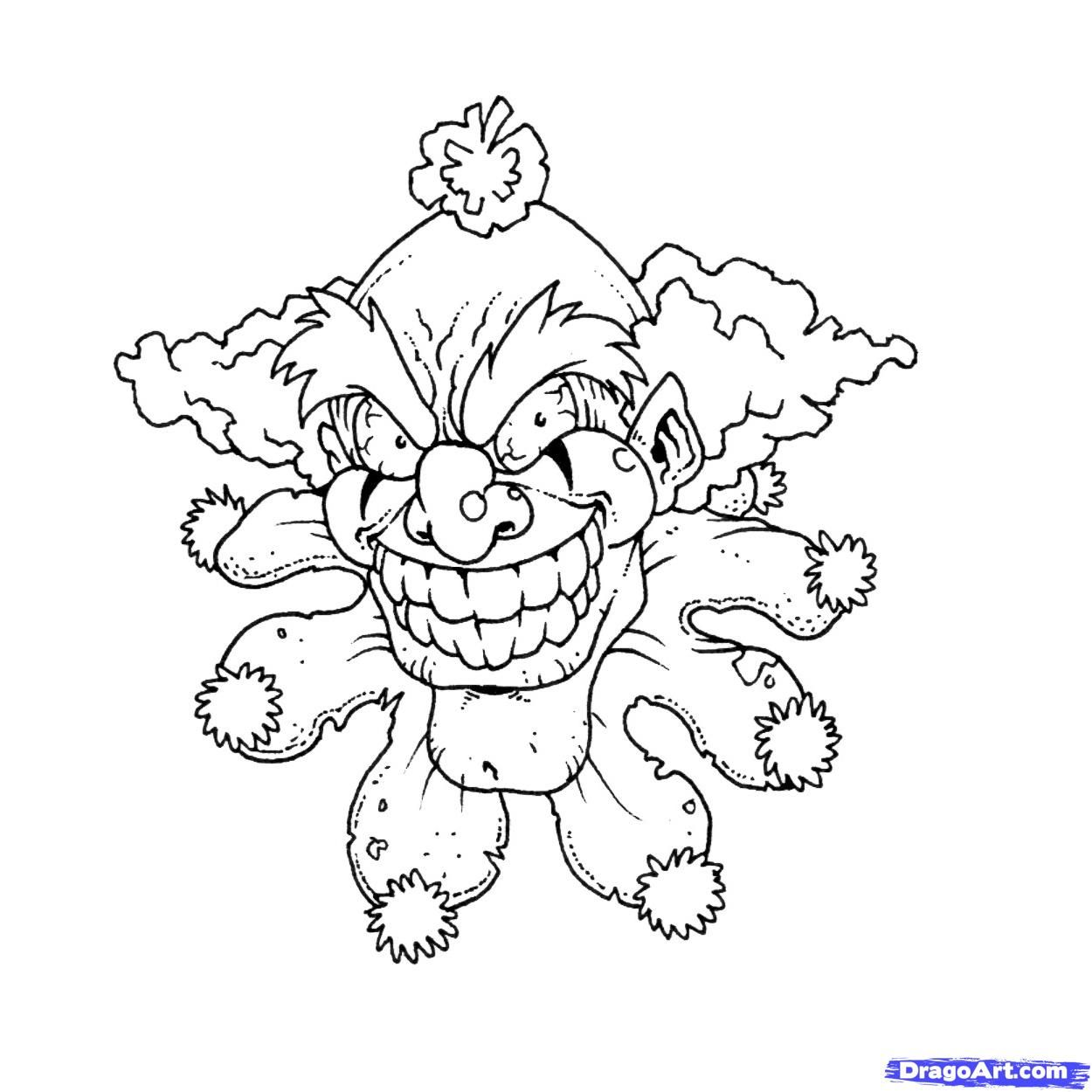 evil clown drawings Google Search Cartoon coloring