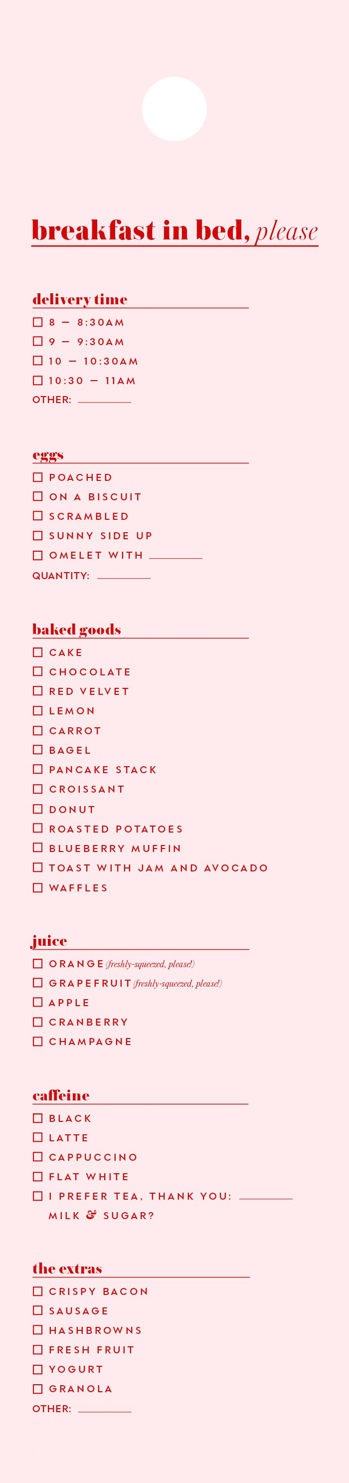 Breakfast In Bed by katespade: Room service, no hotel required. Downloadable menu. #Menu #Breakfast_in_Bed #Free_Download