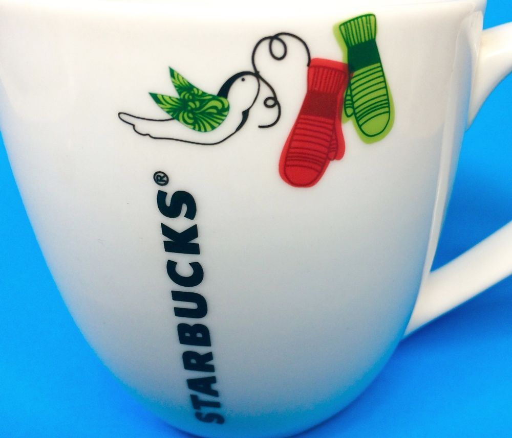 Starbucks Coffee Mug Cup Christmas Bird Dove Mittens Gloves Red ...