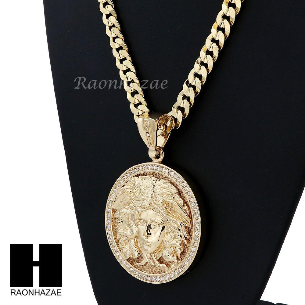 8bb223d043537 Hip hop iced out medusa round pendant diamond cut cuban link chain ...