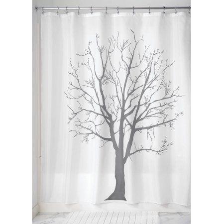 InterDesign Tree Soft Fabric Shower Curtain 72 Inch X Charcoal Black