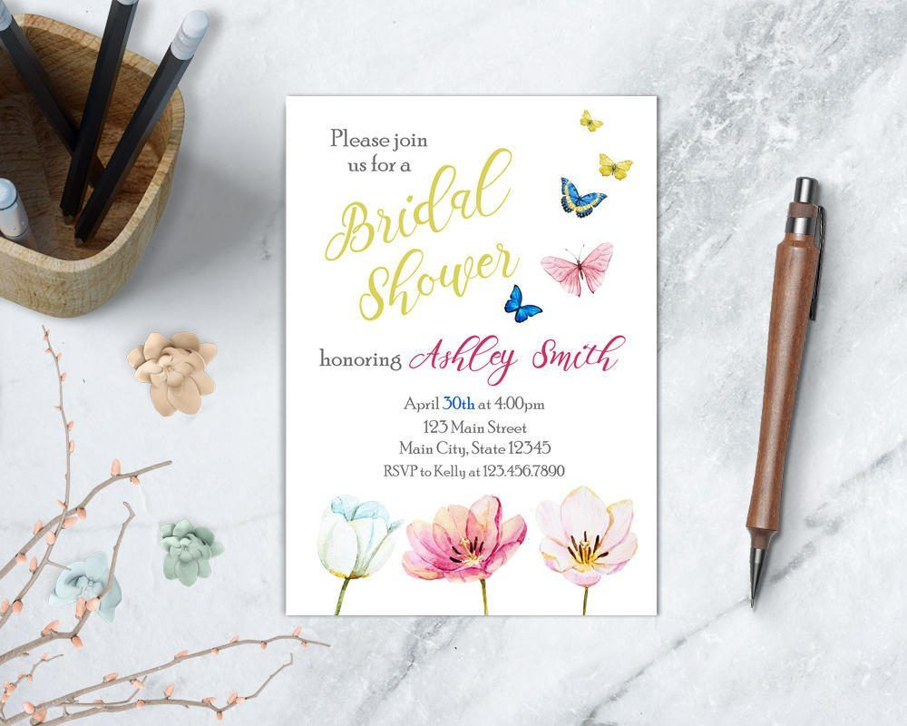 2b4ce7a77ab Flowers and Butterflies Bridal Shower Invitation