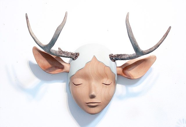 """""""Nature Girl"""" sculpture by yoskay yamamoto #antler"""
