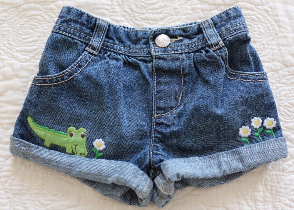 6f1577a4c5fb Baby Girls Gymboree POP OF DAISIES Denim Shorts 6 12 M Alligator ...