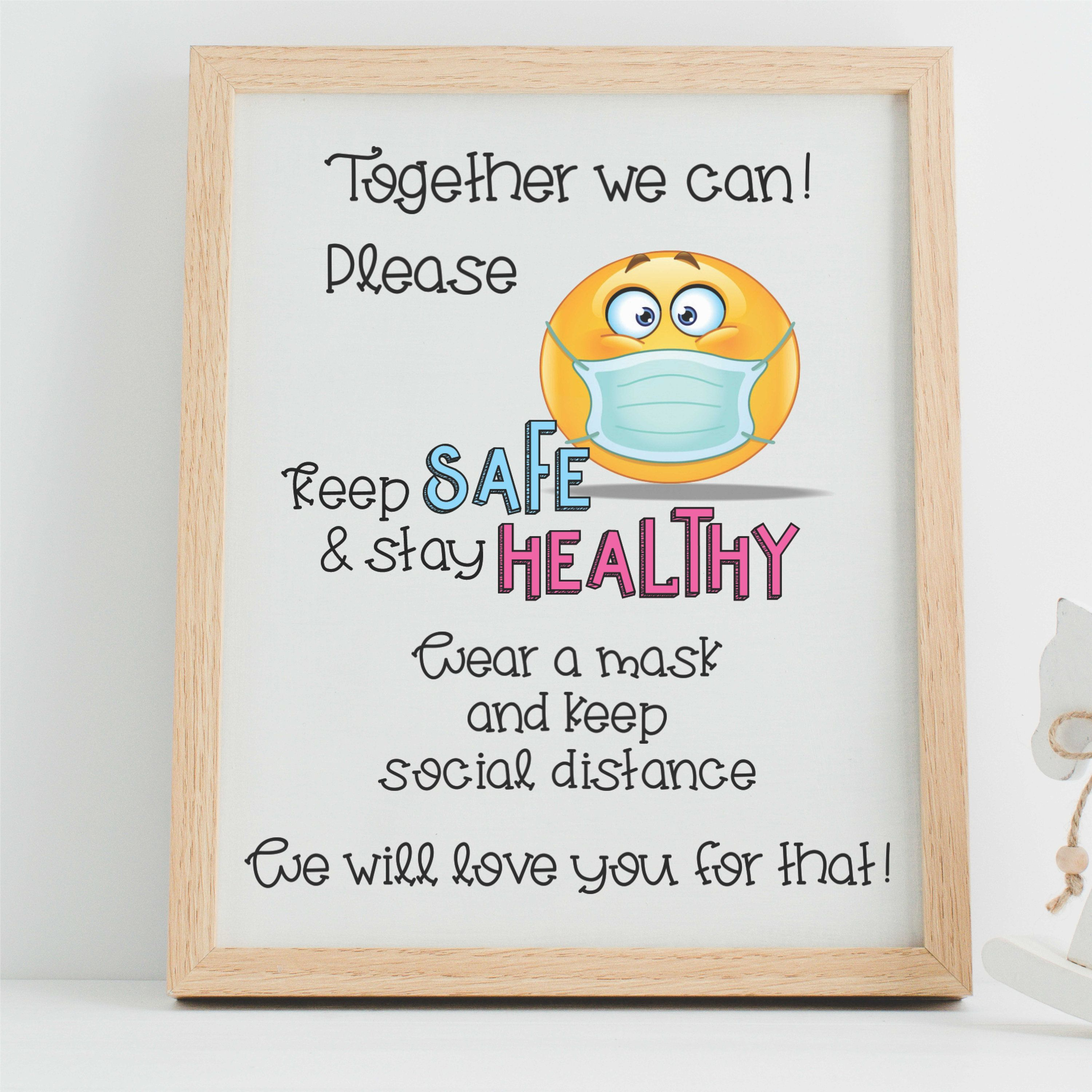 Wear A Mask Sign Wear A Mask And Keep Social Distance Emoji Etsy In 2021 How To Stay Healthy Mask Quotes Printable Signs