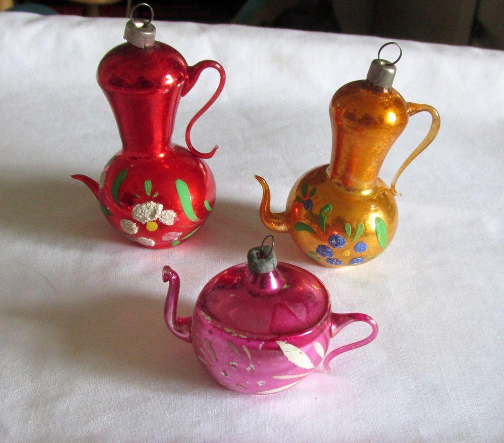 3 Vintage Mercury Glass Teapot Christmas Ornaments Glass Christmas Ornaments Christmas Ornaments Teapot Ornament