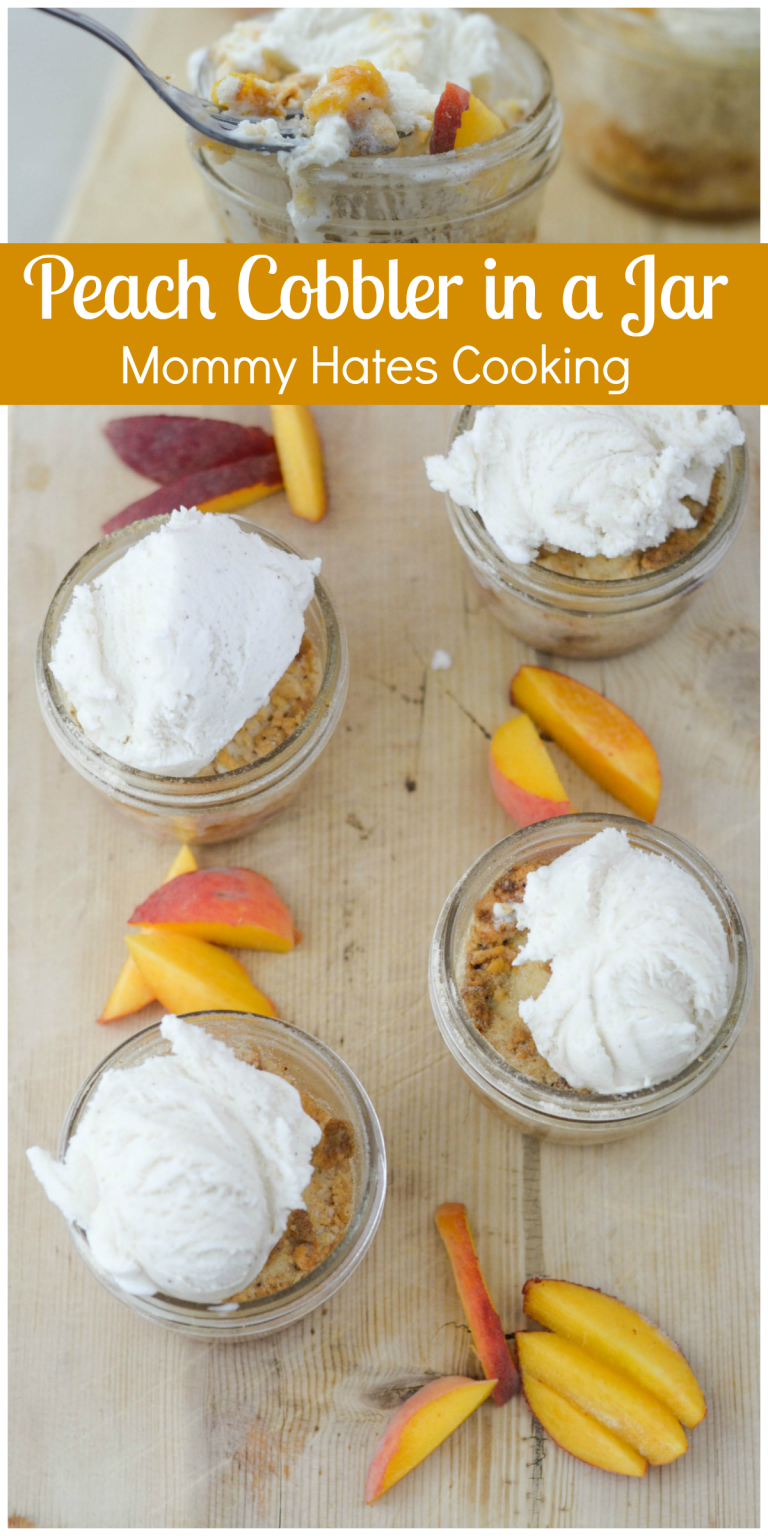 Peach Cobbler in a Jar #peachcobblercheesecake