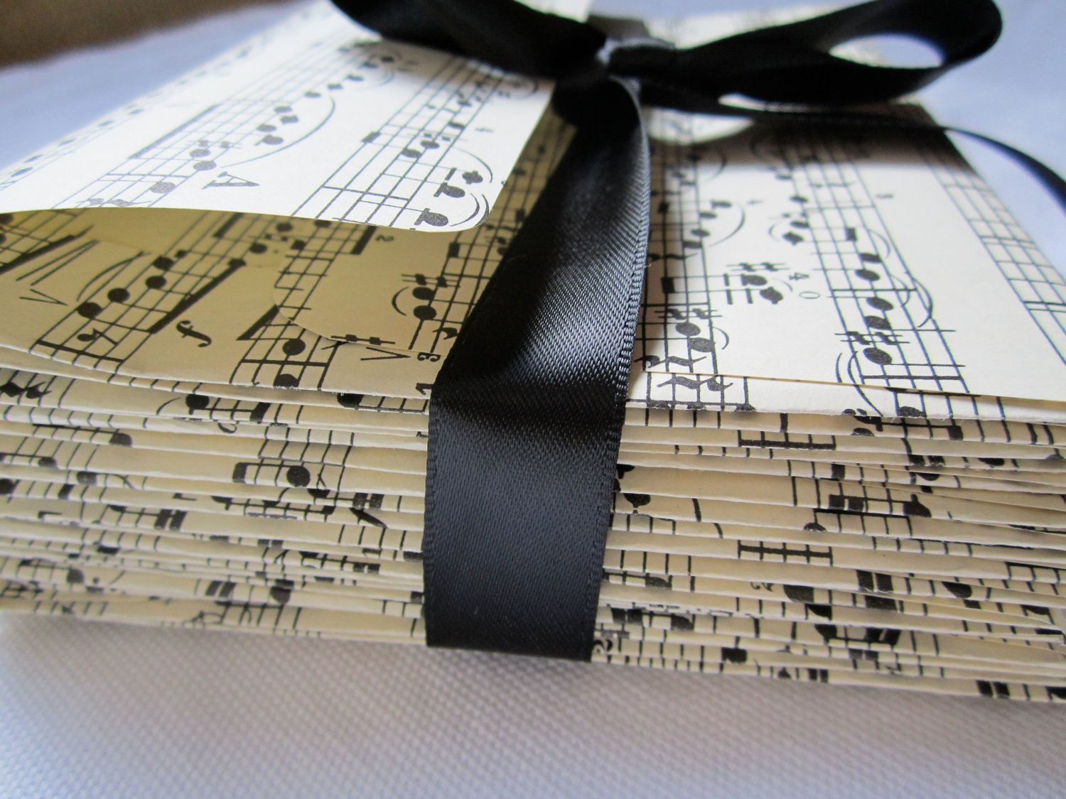 Items Similar To Sheet Music Vintage Envelopes Musical Notes SET OF 10 Handmade Wedding Black And White Party On Etsy