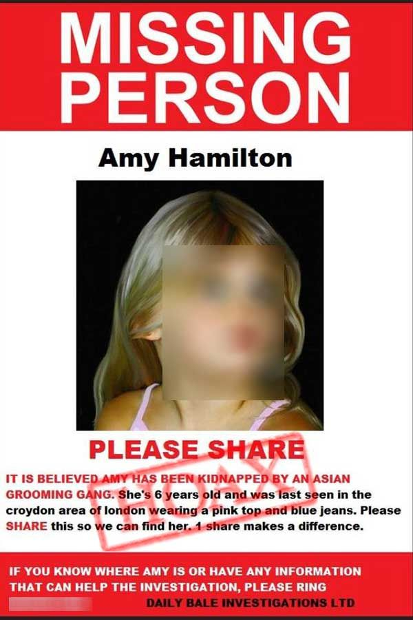 HOAX Amy Hamilton Missing Person Also the photo is actually a - missing person poster template