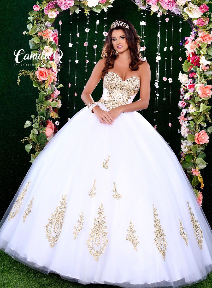 Camila Q Gold Accent Quinceanera Dress By Karishma Creations Q17010 Mi Padrino Quinceanera Dresses Gold White Quinceanera Dresses White Quince Dresses [ 1200 x 884 Pixel ]
