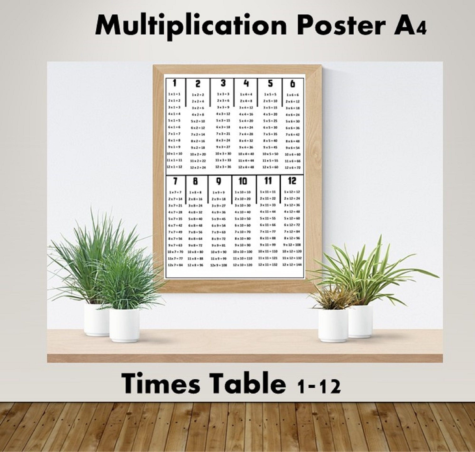 TIMES TABLES POSTER MATHS EDUCATIONAL WALL CHART BOYS KIDS CHILDS A4 CUSTOMISE