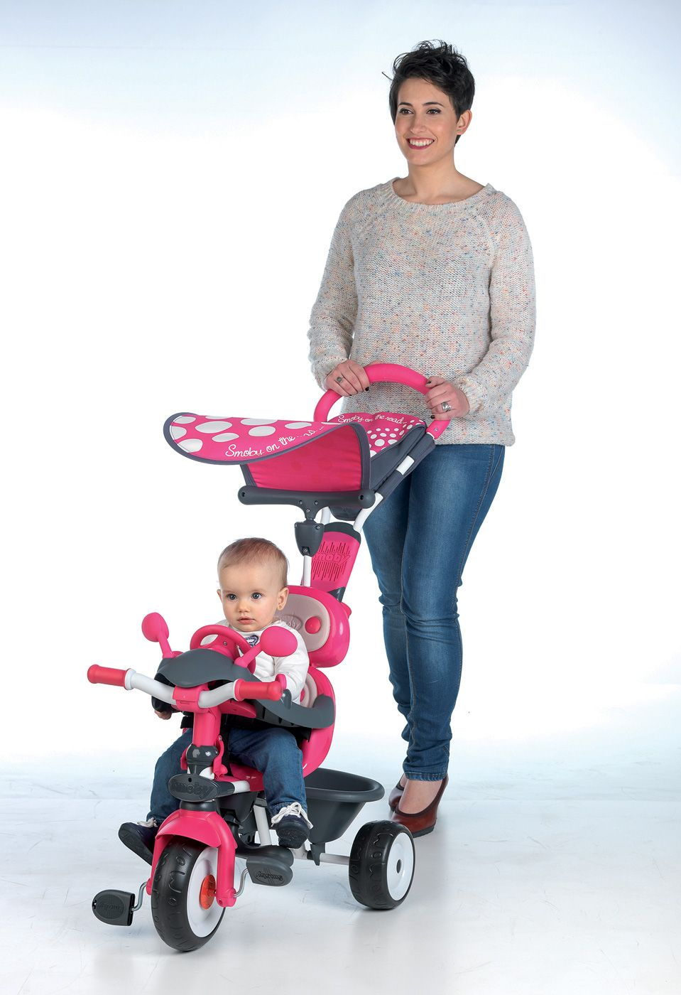 b47f544e42ea2 Detská trojkolka Baby Driver je najmodernejšia trojkolka pre deti vyrobená  vo Francúzsku. Trojkolka #Smoby má krásne ružové sfarbenie v kombinácii so  šedou ...