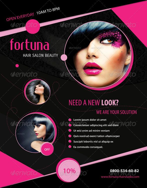 Fortuna Hair Salon Flyer Things to Wear Pinterest Salons - hair salon flyer template