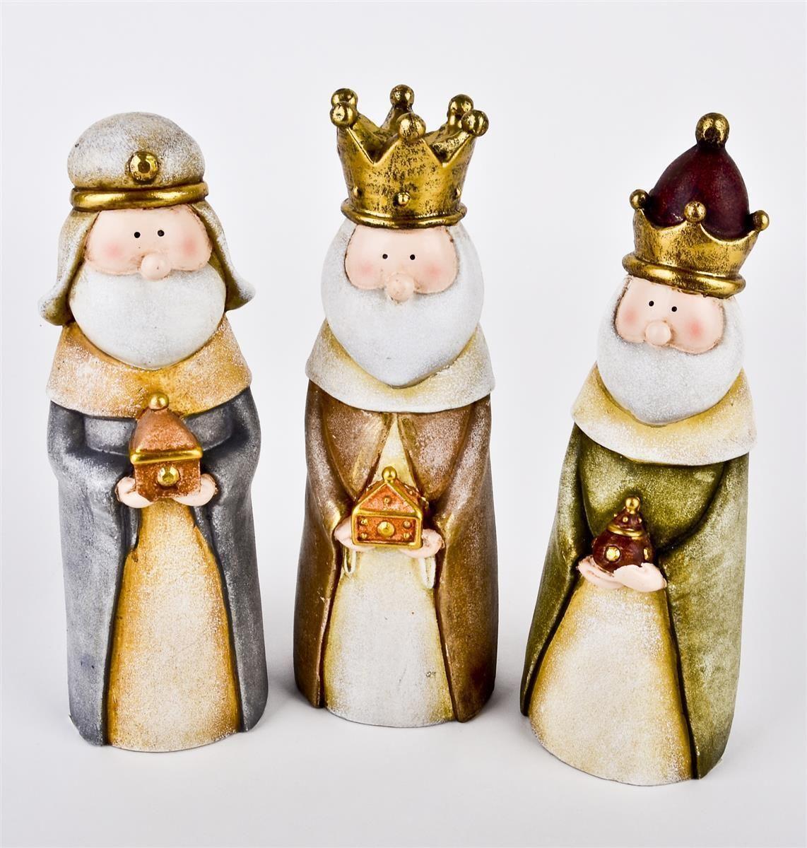 heilige drei könige deko figuren 3er set kunstharz
