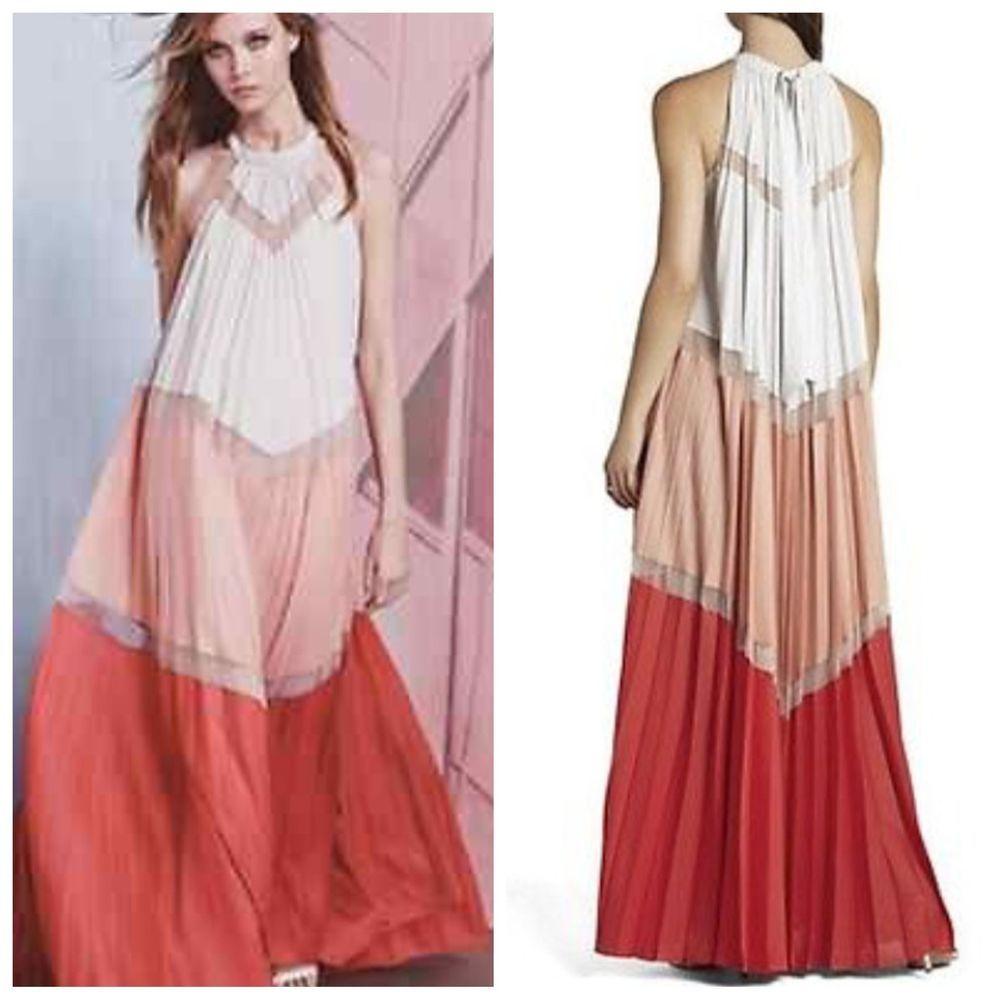 NEW BCBG MAXAZRIA ALYSON moonlight combo pleated dress $498 RWY61B50 ...