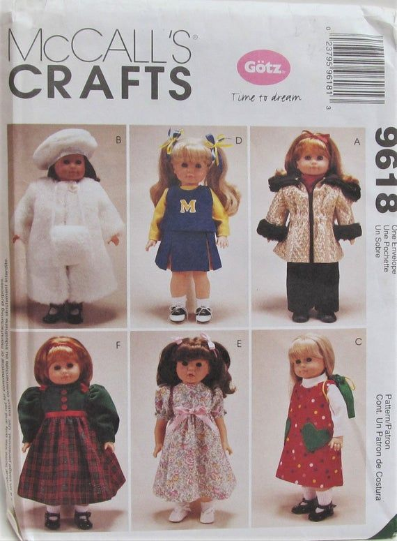 18 Inch Doll Clothes Sewing Pattern Dress Coat And Hat Cheerleader Gotz McCall's 9618