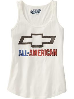 """I just thought this was funny, I wouldn't buy it - A Chevy """"All American"""" T-shirt, which is hilarious since they're now 100% under an Italian company :P - From Old Navy"""