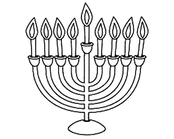 Menorah Chanukah Menorah Coloring Page Free Printable