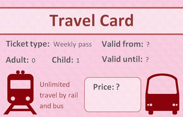 Editable Role Play TravelcardDetailed railcard ticket with - bus ticket template
