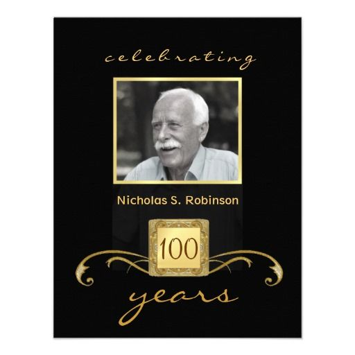 100th birthday party elegant photo invitations in 2018 100th