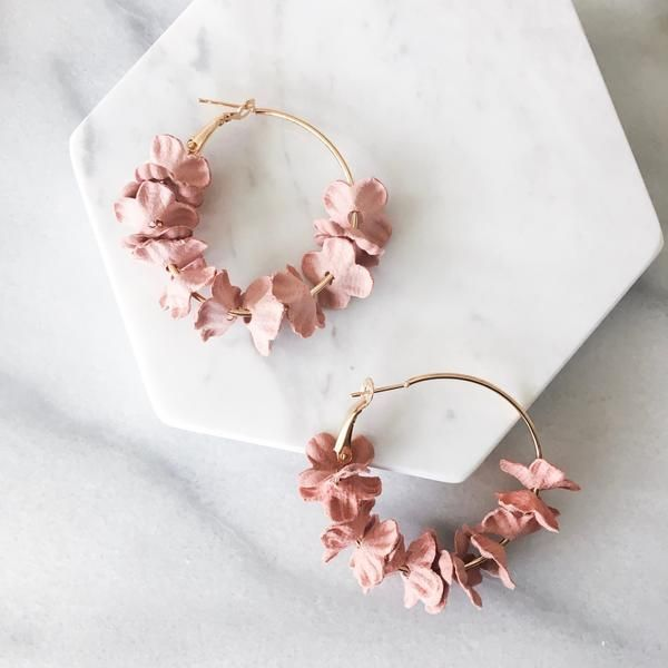 Dainty Hand-Painted Petal Hoop Earrings