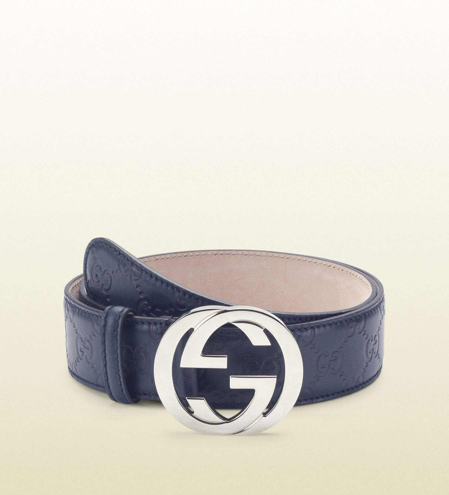 4fbb10dcc blue guccissima leather belt with interlocking G bu ...   GUCCI ...